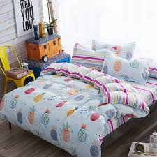 cute pineapple bedding set kawaii duvet cover for kids bed sheets