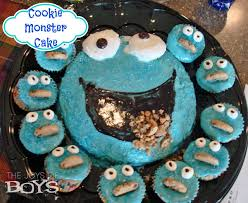 cookie monster cake and cupcakes the joys of boys