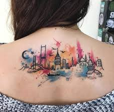 istanbul city watercolor tattoo on u0027s back best tattoo