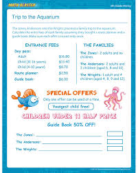 trip to the aquarium u2013 download free money printables for grade