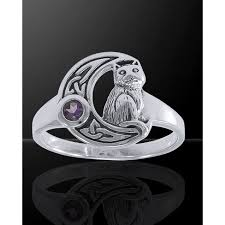 celtic cat and moon sterling silver ring pagan jewelry wicca