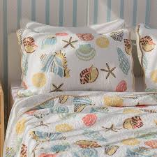 Seashell Queen Comforter Set Beach House Bedding Uk Coastal Themed Delectably Yourscom Palm