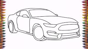how to draw a car ford mustang shelby gt350 2016 step by step easy