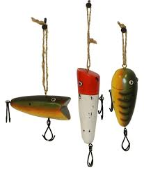 three wooden fishing lure ornaments set 1 https
