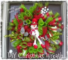 Homemade Christmas Wreaths by Daisies U0026 Stars Diy Christmas Deco Mesh Curly Snowman Wreath 2013
