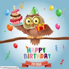 geburtstagssprüche karte bunte happy birthday karte mit eule für kinder