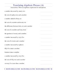translating verbal expressions into algebraic expressions worksheets translating algebraic phrases a math algebra