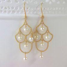Chandelier Earrings Etsy Pearl Chandelier Earrings Pearls Earrings And Gold Chandelier