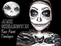 skeleton face paintings for halloween jack skellington timelapse face paint youtube