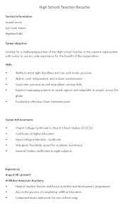 Mathematics Teacher Resume Sample by 32 Excellent High Teacher Resume For College Vntask Com