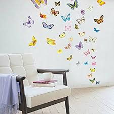 Amazoncom Innovative Stencils  Easy Peel And Stick Colorful - Butterfly kids room