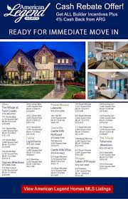 sale time new american legend homes inventory spec homes are