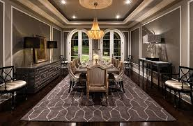 Bling Large Chandelier Monochromatic Brown Dining Room Theme Color With Luxury Interior