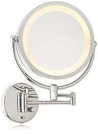hardwired lighted makeup mirror 10x amazon com danielle creations chrome revolving wall mounted