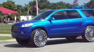 nissan armada on 28s candy blue saturn truck on 30