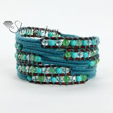 leather wrap bracelet with stones images Natural stone bead beaded leather wrap bracelets wholesale jpg
