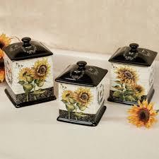 sunflower kitchen canisters sunflowers kitchen canister set set of kitchen canister