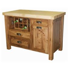 rustic small kitchen island with butcher block top and wine bottle