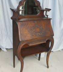 Chippendale Secretary Desk by Curved Glass Oak Secretary W Claw Feet U0026 Applied Carvings Antique