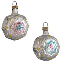silver blue and pink fancy baroque glass ornament germany 1 7