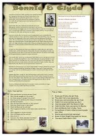 bonnie u0026 clyde worksheet free esl printable worksheets made by