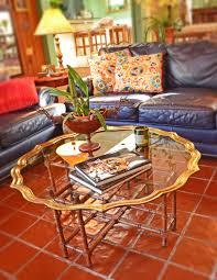 mid century fabulous brass u0026 glass scalloped top coffee table