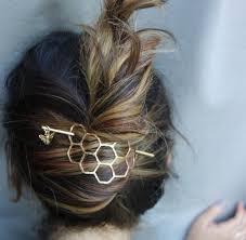 hair bun accessories large brass honeycomb handmade hair bun slide pin with