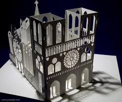 Free Kirigami Card Templates Notre Dame Cathedral 180 Degrees Open Pop Up Diy Kirigami