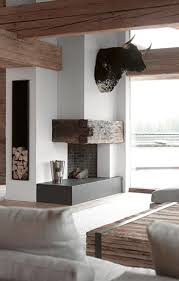179 best rustic fireplaces images on pinterest architecture love the mix of rustic and contemporary black and white in this chalet