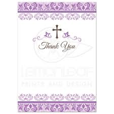 First Communion Invitations Cards First Communion Thank You Cards With Purple Ornate Damask Borders
