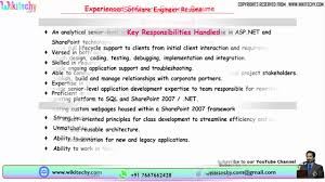 experienced software engineer resume resume format for software