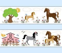 horse wallpaper border wall decals cowgirl room barnyard pony