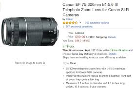 black friday 2017 amazon canon t5i deal canon ef 75 300mm f 4 5 6 iii for 99 at amazon lens