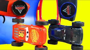 disney cars 3 lightning mcqueen u0026 jackson storm race flip on 2