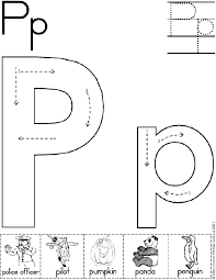 alphabet letter p worksheet standard block font preschool