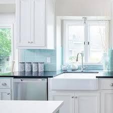 blue tile backsplash kitchen blue subway tile backsplash transitional kitchen deco