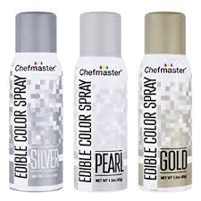 amazon com chefmaster edible spray set three 2 ounce cans gold