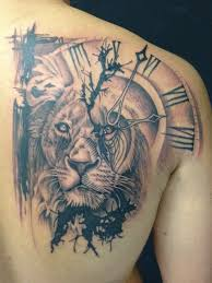 tattoos for guys shoulder lion and clock tattoo design http tattooideastrend com lion