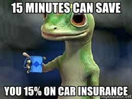 Car Insurance Meme - 15 minutes can save you 15 on car insurance geico meme generator