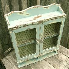 Wooden Spice Cabinet With Doors Vintage Spice Cabinet Wooden Handpainted With Mesh Doors