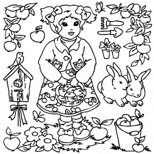farm animal coloring book cartoon farm animals vegetables fruits and decoration elements