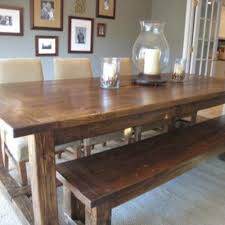 maple wood kitchen table and built in bench seating using bench