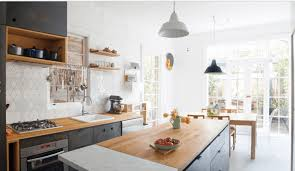 interiors scandinavian kitchen with dark kitchen cabinet with interiors scandinavian kitchen with dark kitchen cabinet with butcher block countertop also geometric pattern backsplash plus