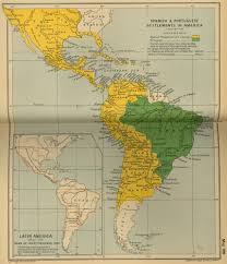 Map Of Latin America by Map Of Spanish And Portuguese Settlements In America