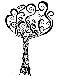 black tribal tree stencil by buffybot101