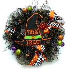 Halloween Wreath Mesh Ribbon Halloween Wreath With Hat Walmart Com
