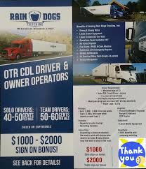 Truck Driving No Experience Rain Dogs Trucking Inc Home Facebook