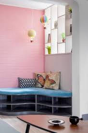 space seating interior pretty combination of blue and pink in corner seating