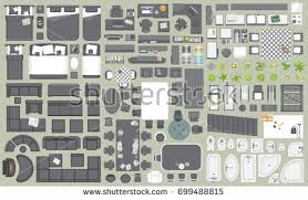 icons set interior furniture top view stock vector 699488755