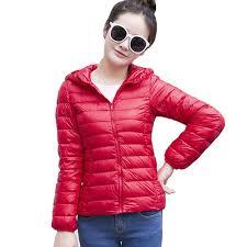 plus size light jacket nice women winter autumn thin hooded down coat female plus size 2xl